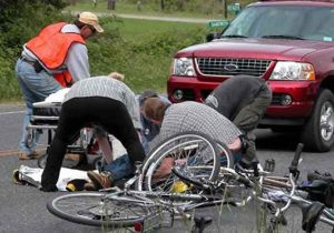 pedestrain car bicycle accident