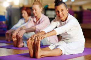healthy senior citizens exercising