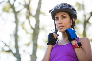 bicycle rider with helmet