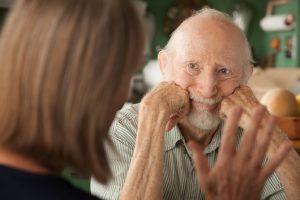 senior citizen serious conversation